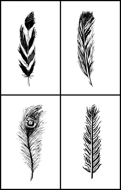 Freebies Hand Drawn Feather Printables Feather Wall Art