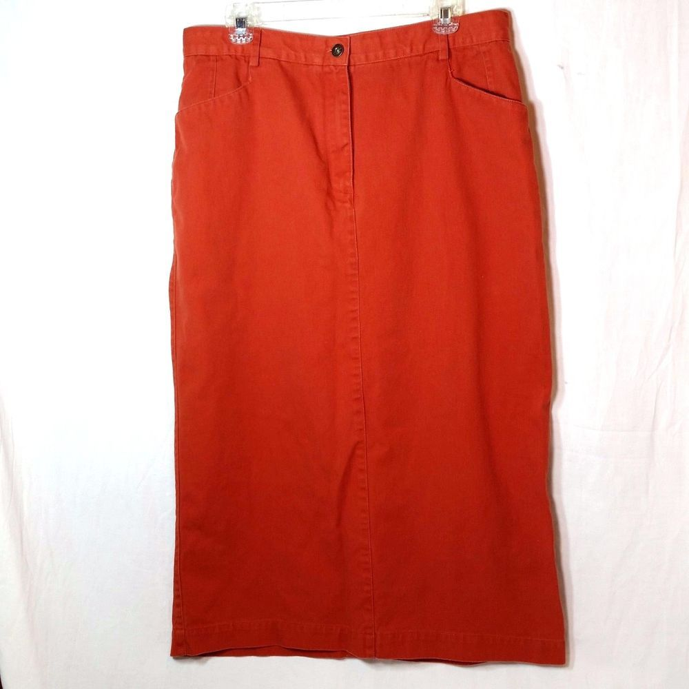 58d7ae27cf094 Christopher   Banks. Modest Straight Pencil Style. Long Denim Skirt. Color  Is Burnt Orange. Just In Time For Fall! Approximate Waist 17
