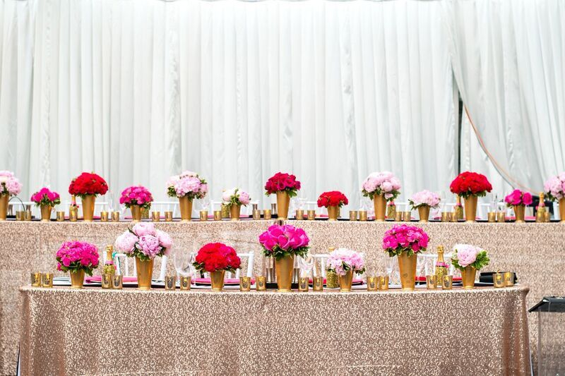 Head Table with Rose Gold Sequin Linen and Assorted Pink Flowers