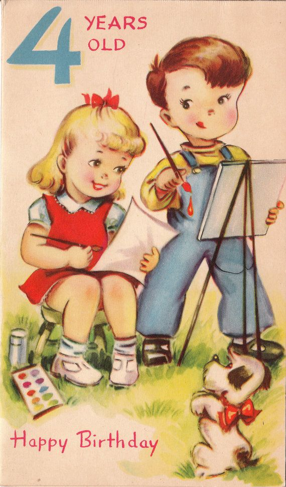 4 Years Old Vintage Birthday Card 3 Vintage Cards Pinterest