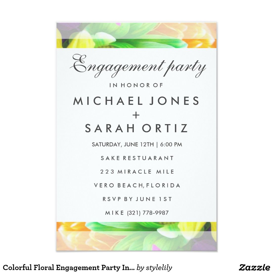 Colorful Floral Engagement Party Invitation | Wedding :Engagement ...