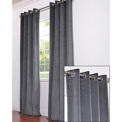 Ikea Sanela Charcoal Gray Curtains 2 Panels Blackout Cotton Velvet 118 Long Nip