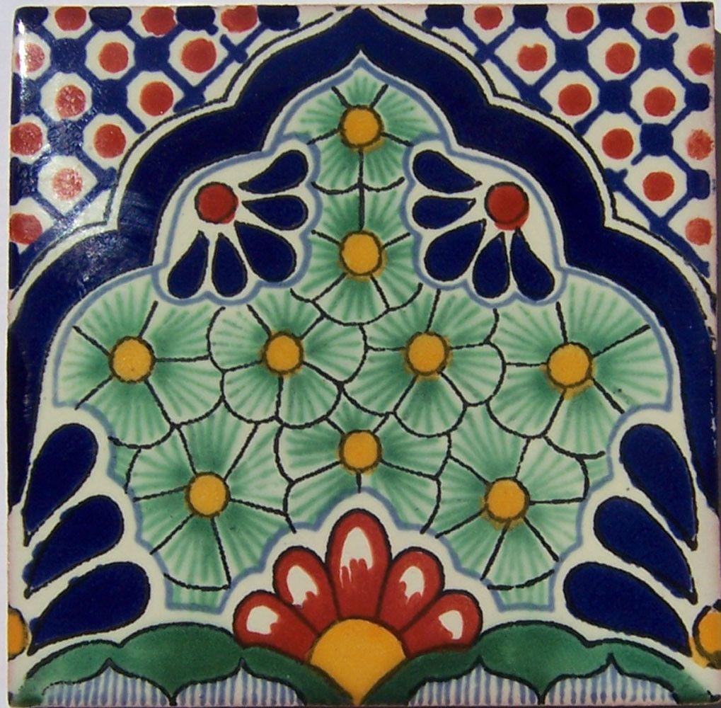 "90  4x4"" Handmade Ceramic Tile Mexican Folk Art  C186"