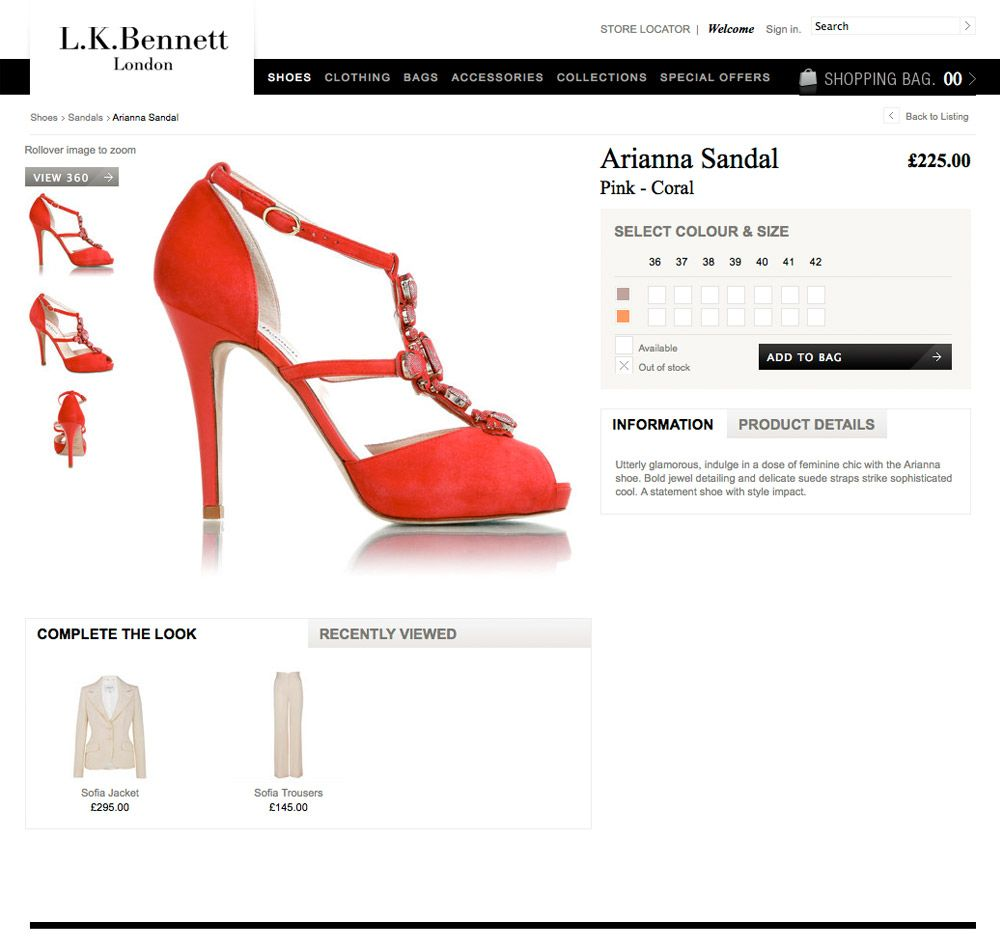 product details the clean design is consistent through to the listings and product detail pages