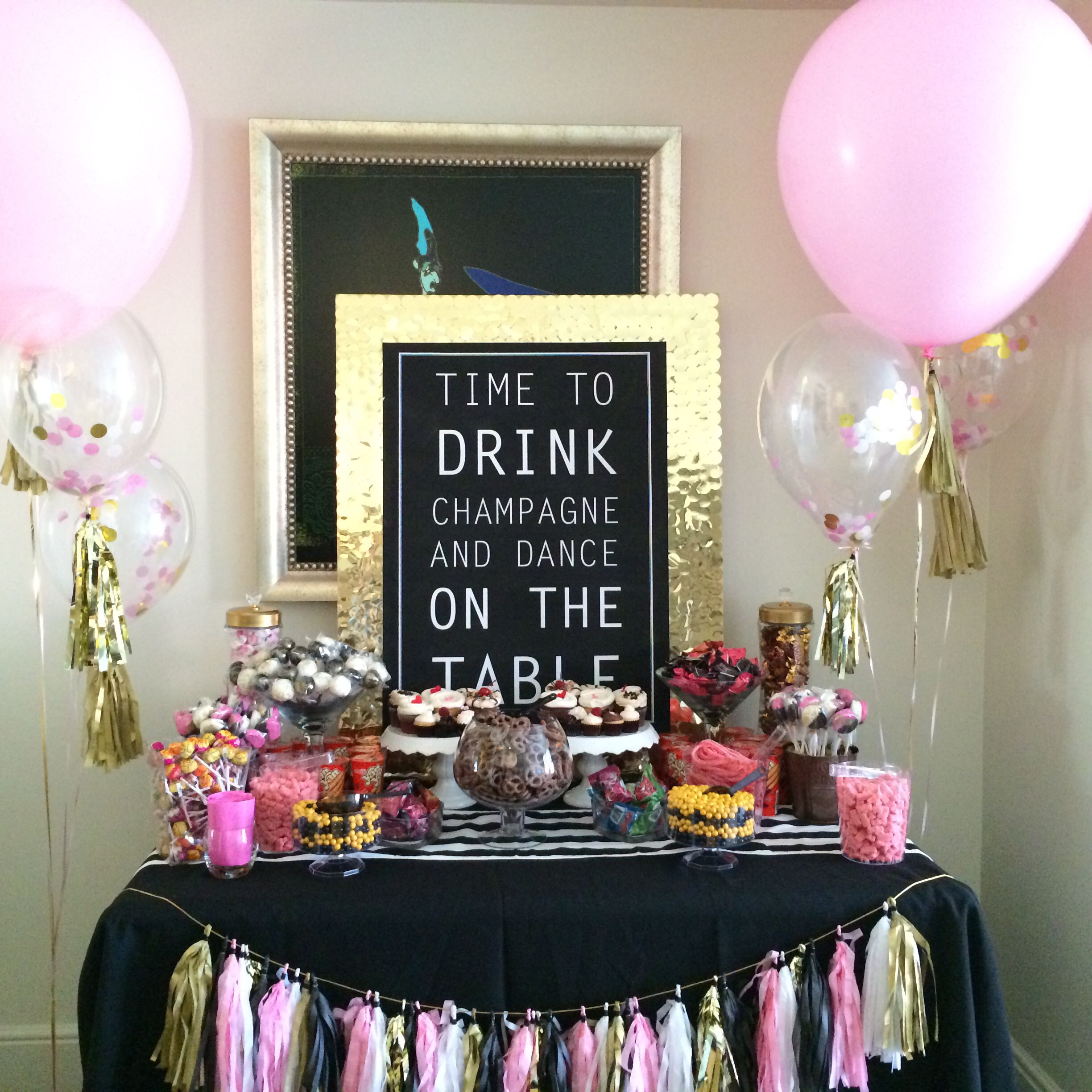 Diy bachelorette table set up candy bar handmade for Diy hotel decor