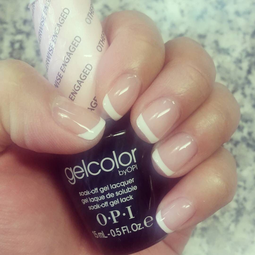 Gel manicure using OPI Otherwise Engaged as a base color. Natural ...
