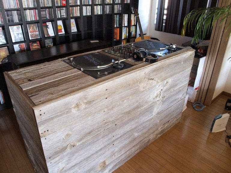 Dj booth made of reclaimed wood suddenly the misses doesn t mind