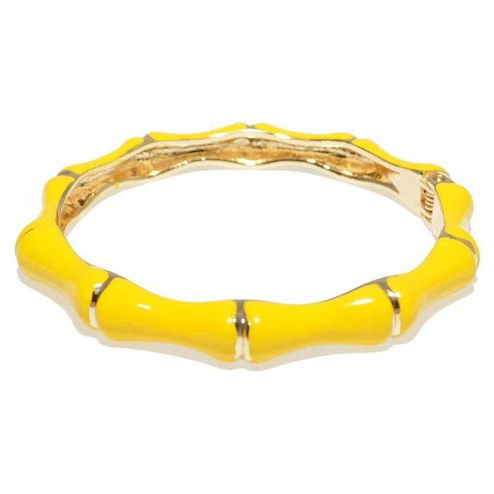 Bamboo Enamel Hinged Bracelet - Yellow