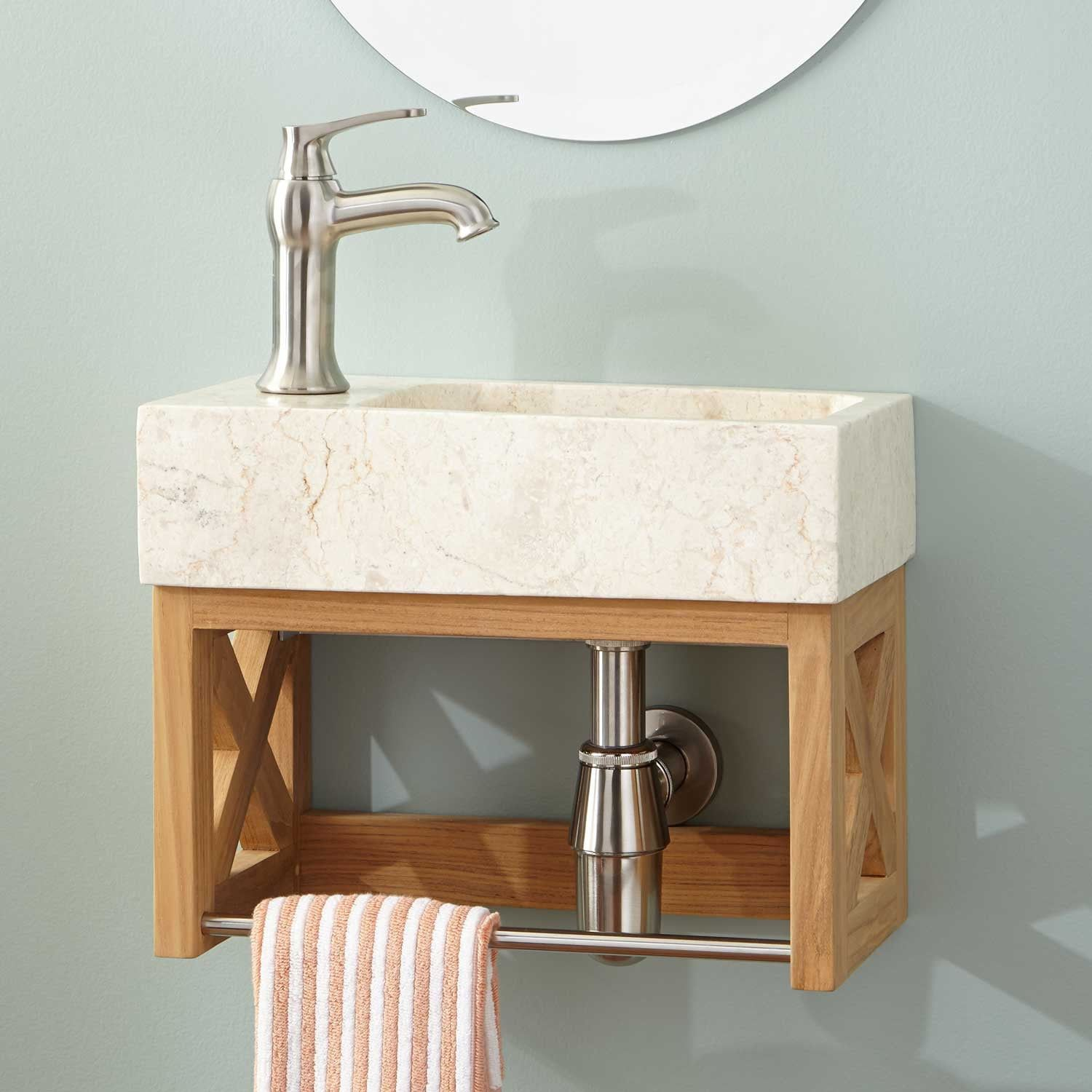 16 Ansel Teak Wall Mount Vanity With Towel Bar Stone Sink