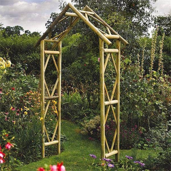 garden arches Rustic Style Wooden Garden Arch Garden Ornaments
