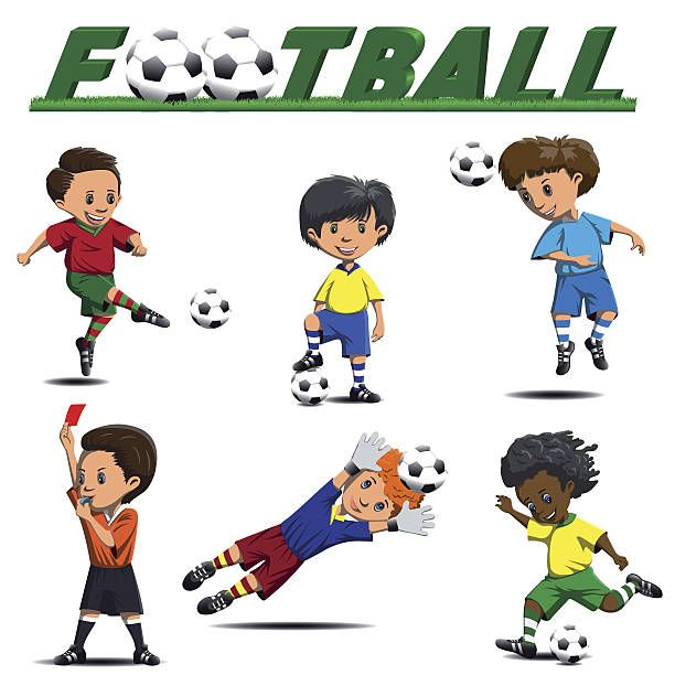 Soccer And Football Players From Different Teams Vector Art Illustration Football Kids Soccer Players Soccer