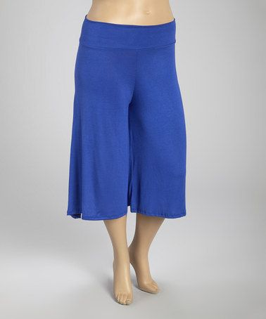 Another great find on #zulily! Royal Blue Solid Cropped Palazzo Pants - Plus #zulilyfinds