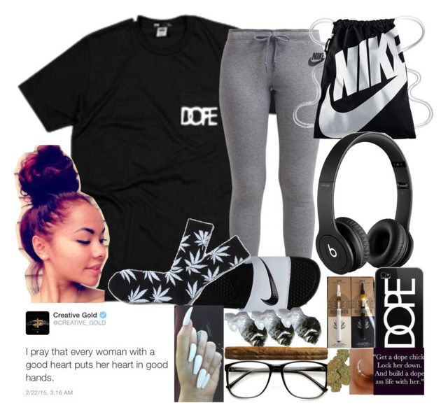 """""""DOPE"""" by queencalii ❤ liked on Polyvore featuring NIKE, HUF, Beats by Dr. Dre and Casetify"""