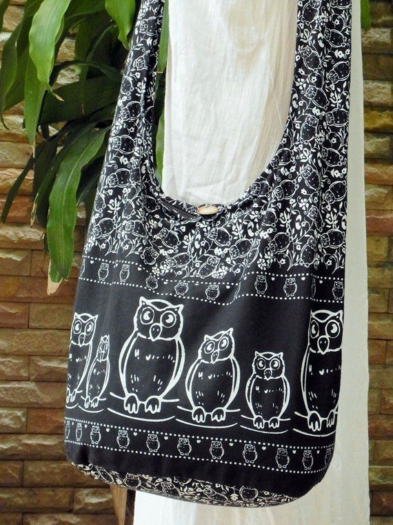 0703f101335 Boho Hobo Crossbody Owl Bag Hippie Vegan Cross body Girl Woman Purse Bird  Fun Bag Cotton Fabric Mess
