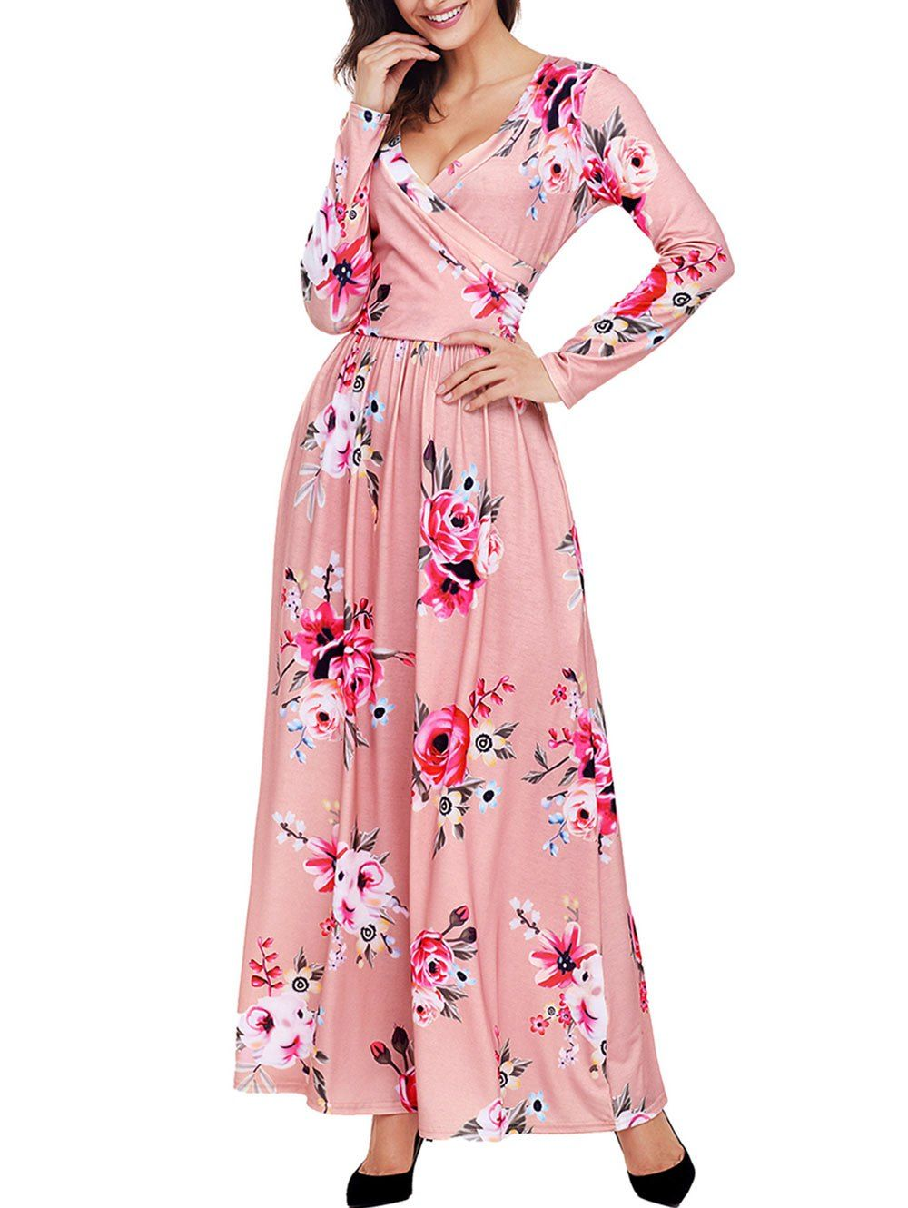 Floral Long Sleeve Surplice Neck Maxi Dress | Vestimentas y Consejos