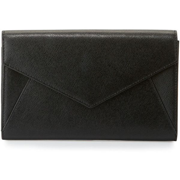 Neiman Marcus Leather Envelope Clutch Bag (€61) ❤ liked on Polyvore featuring bags, handbags, clutches, black, 100 leather handbags, leather clutches, genuine leather purse, leather handbags and leather flap handbags
