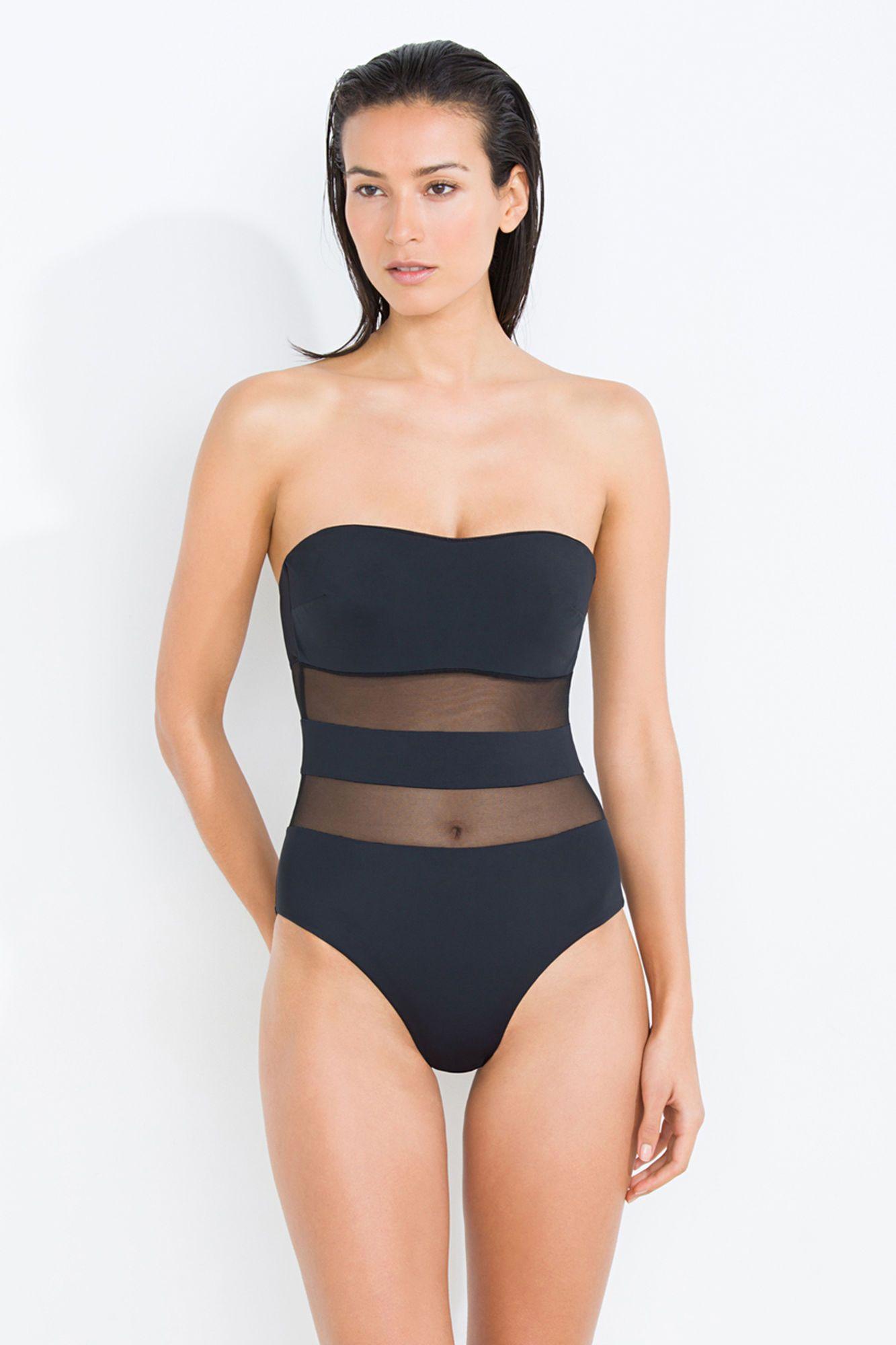 Swimsuit Enhancing Shape Semi Sheer SwimsuitsRopa Stripes With XukOPZi