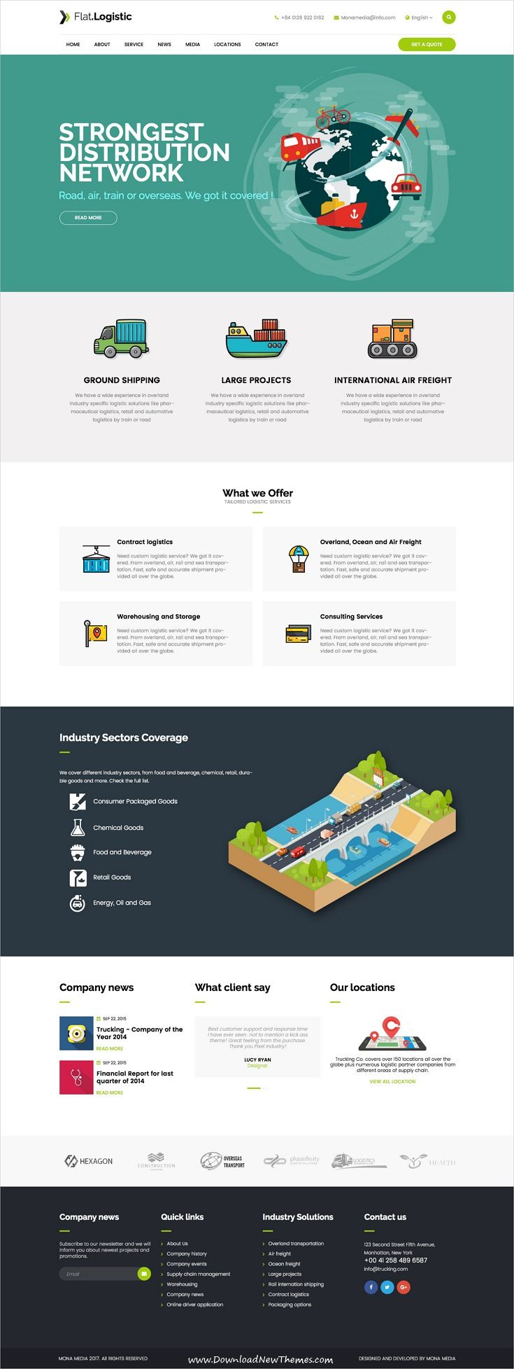 Flat Logistic is clean and modern design multipurpose PSD template