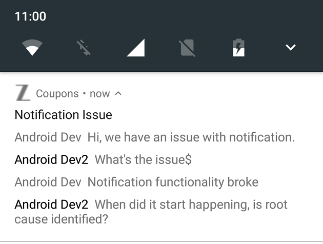 Android message style notification #android #zoftino #messagestyle