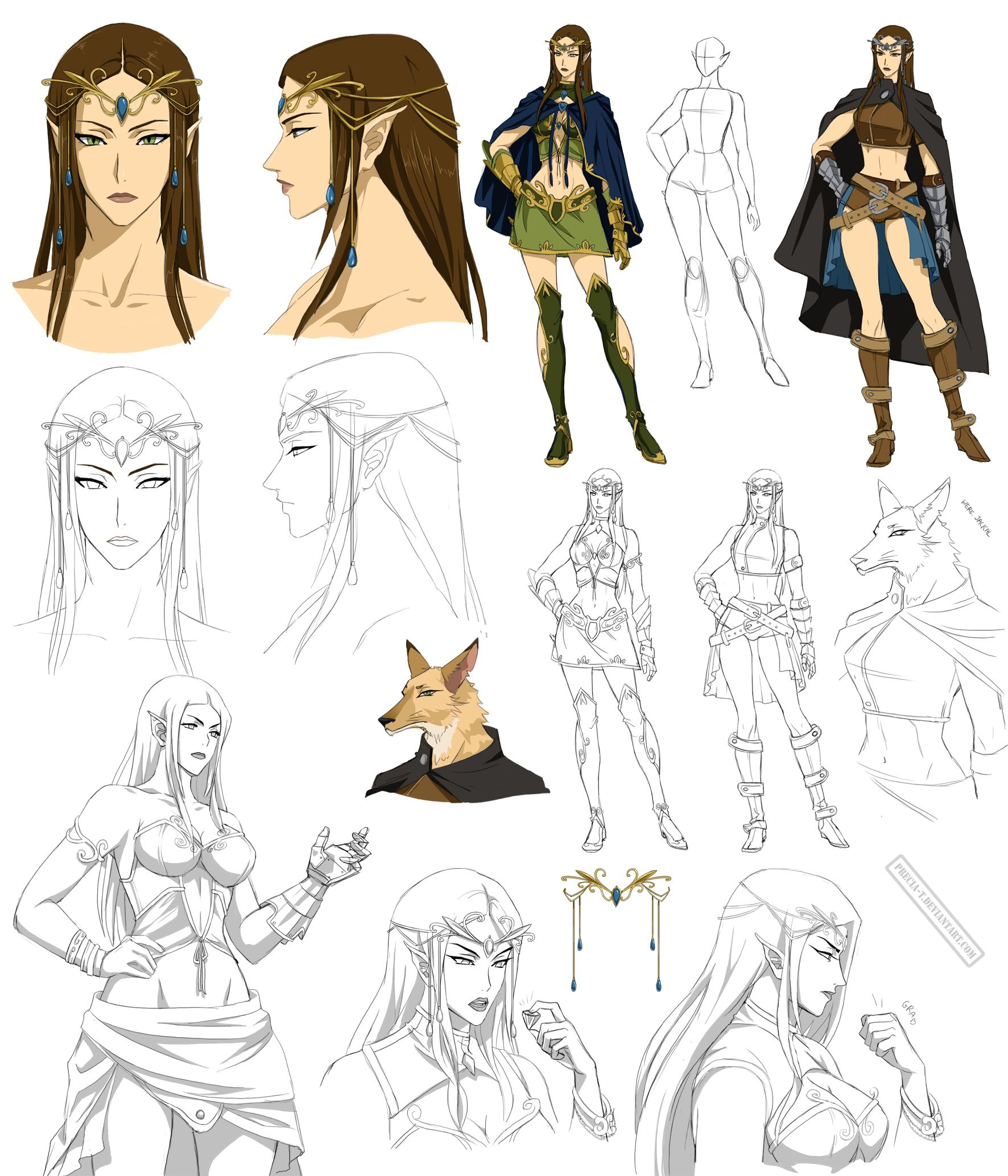 Character Design Style Sheet : Elf villain design nadia commision by precia t