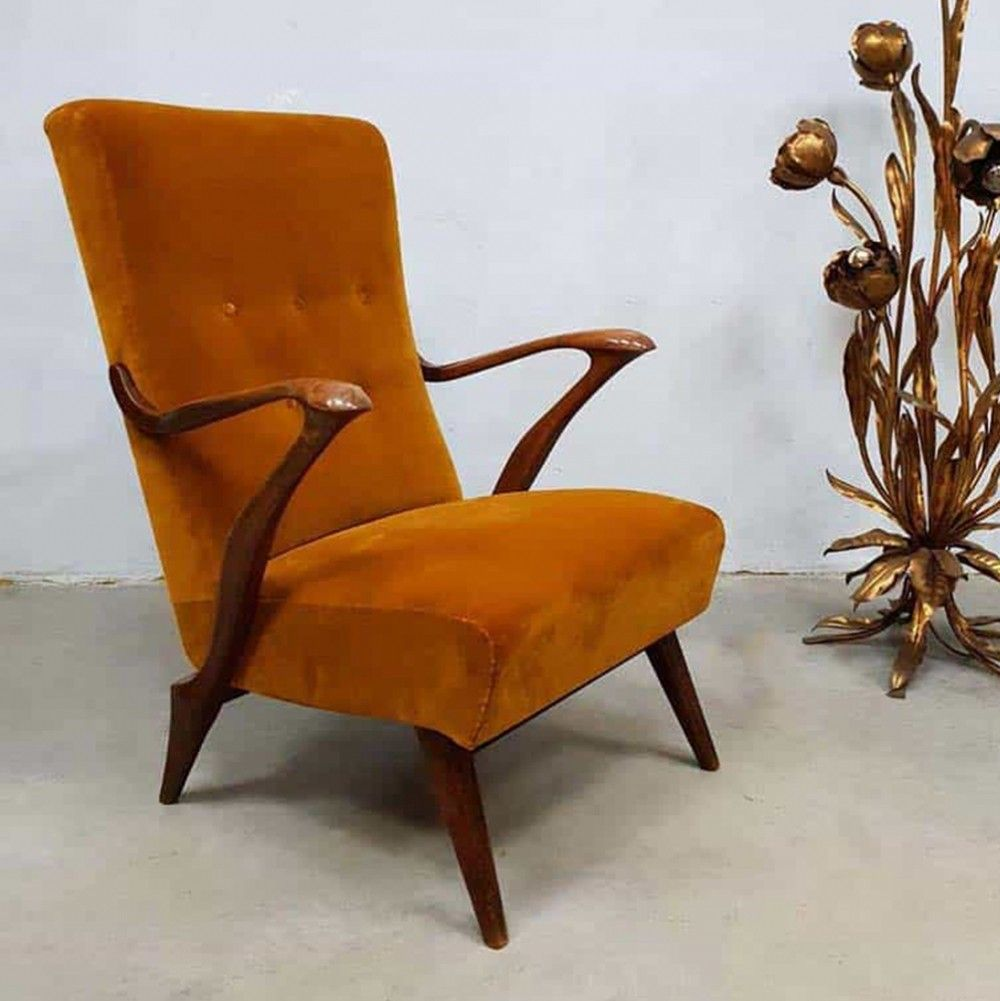Miniature 1940 S Style Arm Accent Chair: Midcentury Modern Danish Lounge Arm Chair, 1940s