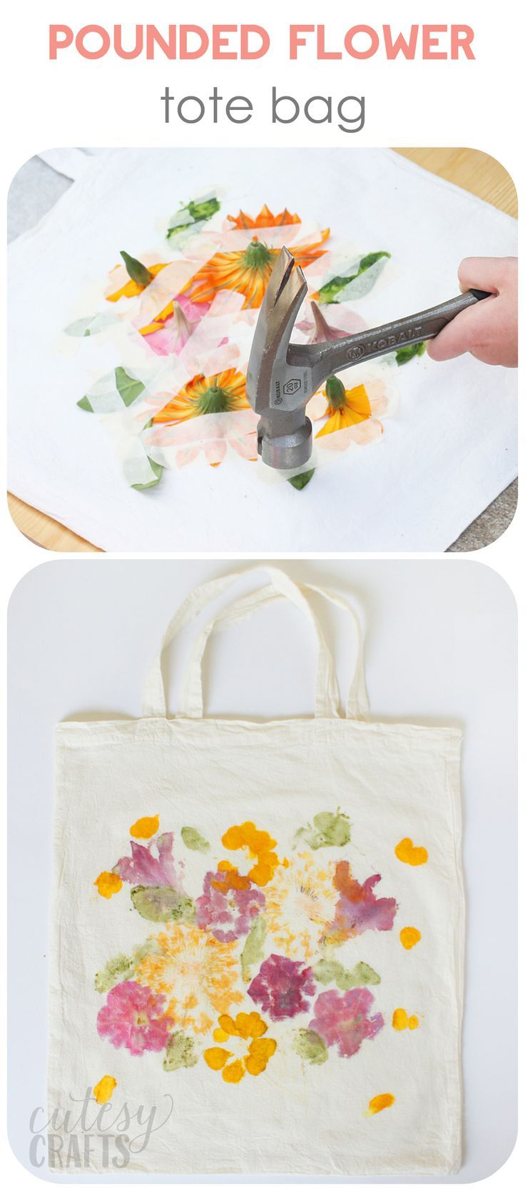 Mother's Day Gift: Pounded Flower Tote Bag - DIY Candy #flowerfabric