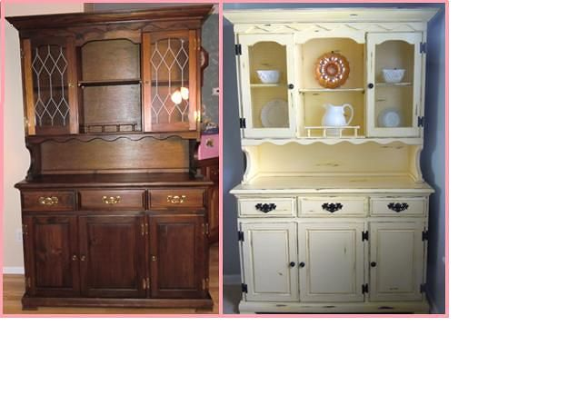 Great before and after of a kitchen hutch