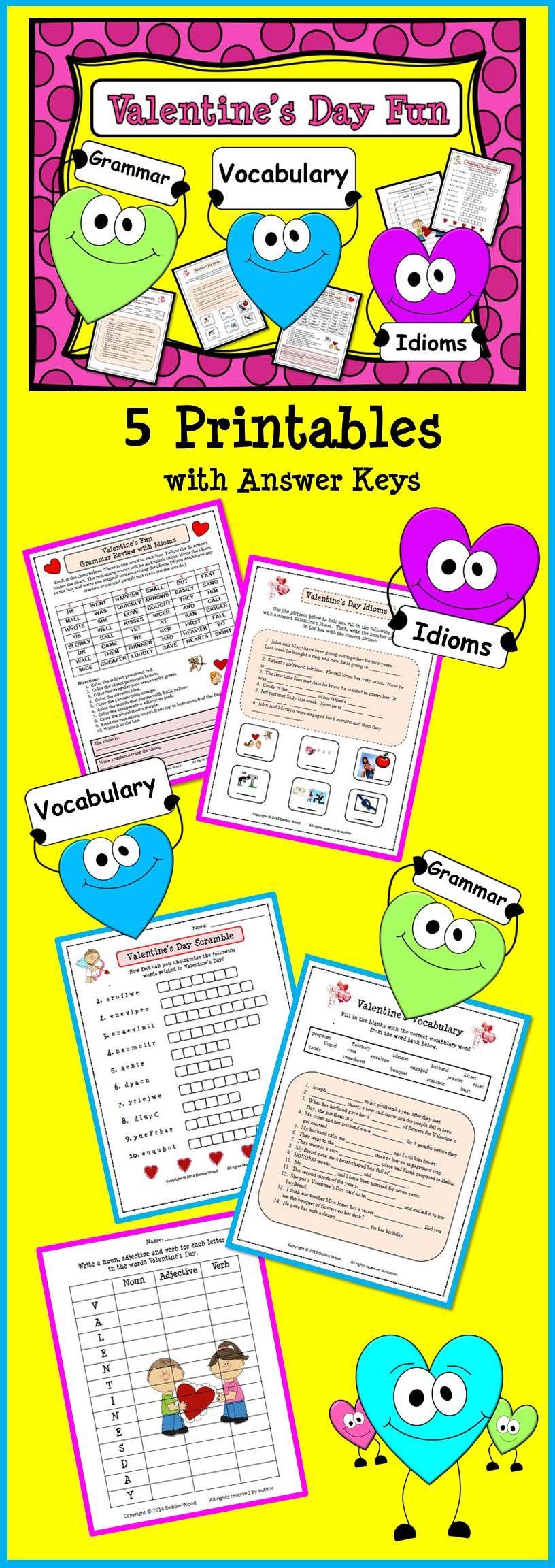 Valentine S Day Fun Grammar Vocabulary Idioms Idioms Fun Language Arts Valentines Day Activities [ 2304 x 816 Pixel ]