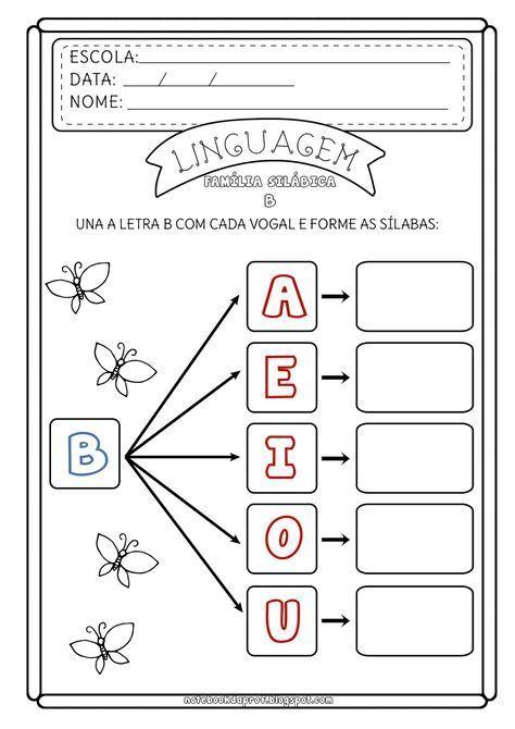 Atividade Familia Silabica Do B Consciencia Fonologica
