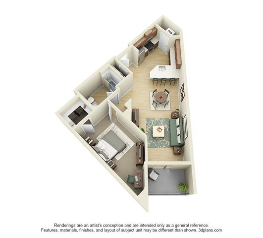 Studio 1 2 And 3 Bedroom Apartments In Los Angeles Studio Floor Plans Small House Design Plans Architectural Floor Plans