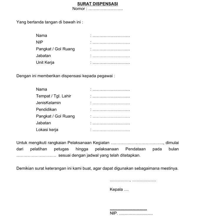 Created For Just One Purpose Contoh Surat Dispensasi