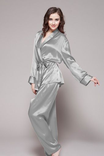 ed3482b14f70 Contrast trim full-length silk pajama set for women  silk  pajama  women
