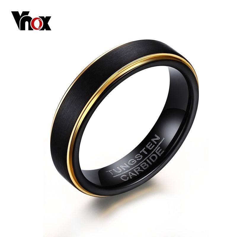 Men S Black Tungsten Carbide Yellow Gold Wedding Band Tungsten Mens Rings Black Tungsten Rings Rings For Men