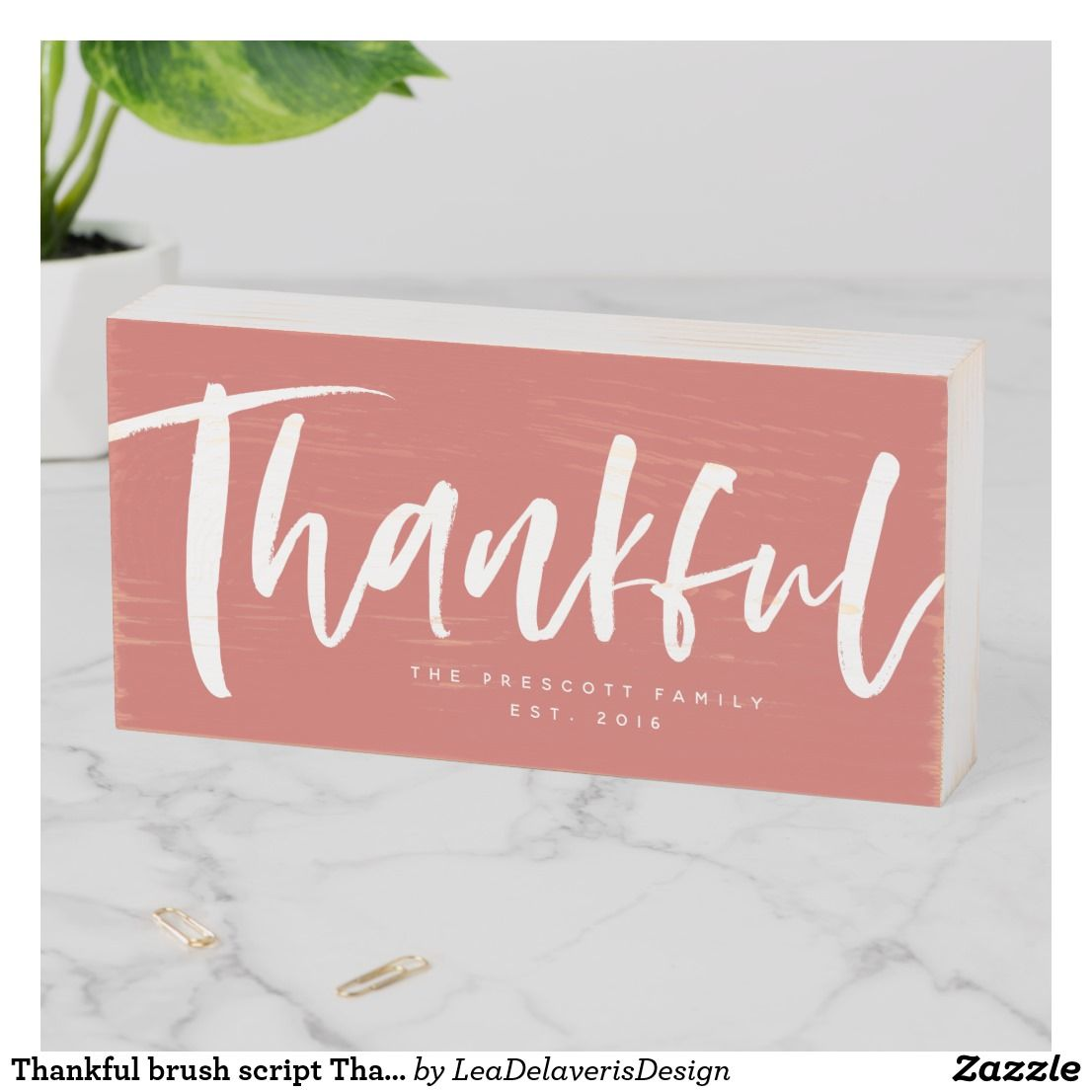 Thankful Brush Script Thanksgiving Wooden Box Sign Zazzle Com Box Signs Wooden Boxes Custom Holiday Card