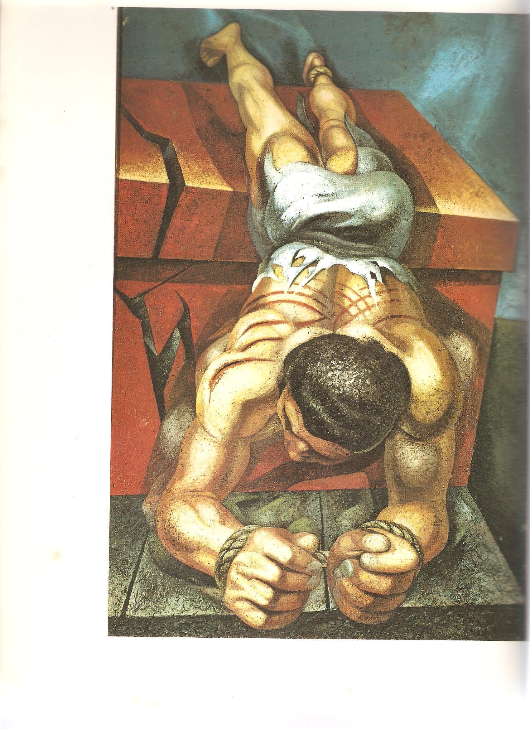 Obra de Siqueiros, Tríptico Nova Democracia Vitima do fascismo  Cidade do México Palacio de belas artes 1944
