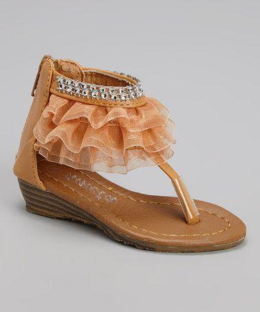 Look at this #zulilyfind! Tan Diamond Ruffle Wedge Sandal by Ameta Corporation #zulilyfinds