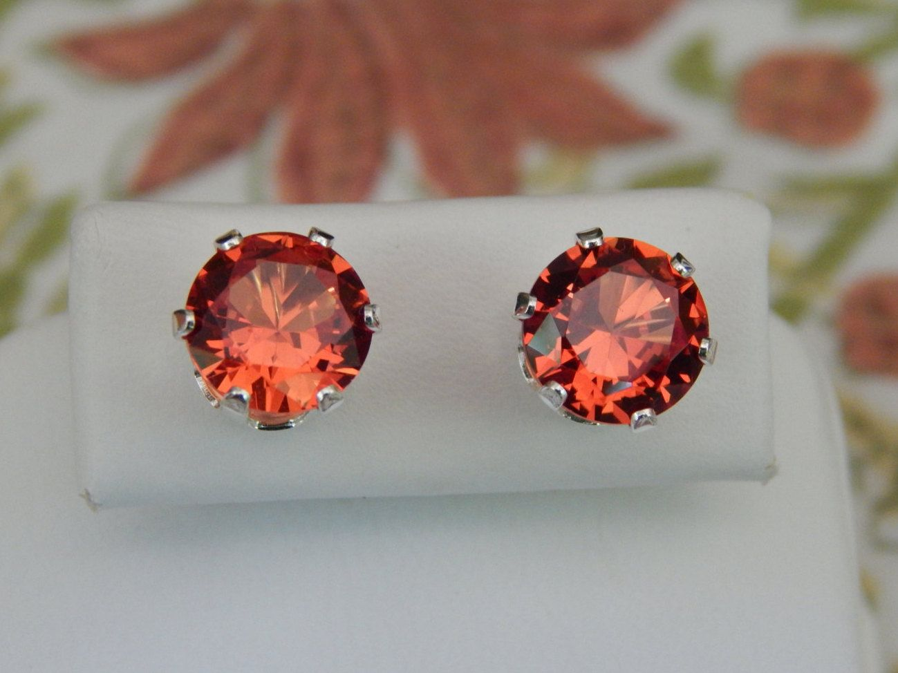 buy round approximately sapphire earrings padparadscha carat prouctdetail rare