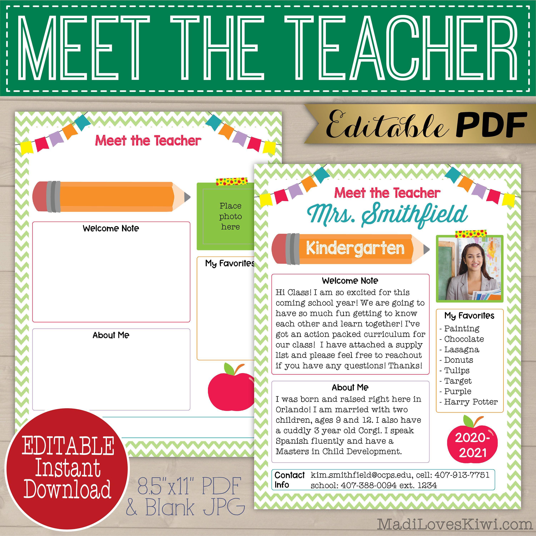 Editable Meet The Teacher Template Printable Welcome Letter Etsy In 2021 Meet The Teacher Meet The Teacher Template Teacher Templates
