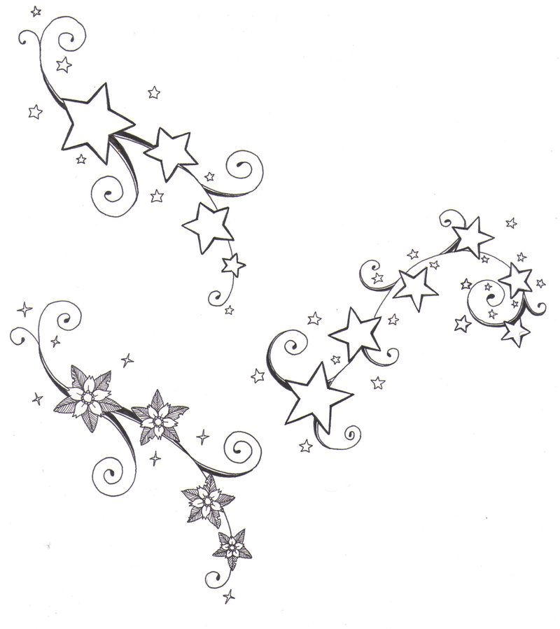 Flowers And Stars By Crazyeyedbuffalo On Deviantart Star Tattoos Flower Tattoo Designs Sagittarius Tattoo Designs