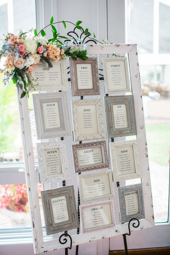 Vintage Picture Frame Seating Chart | One day | Pinterest | Vintage ...