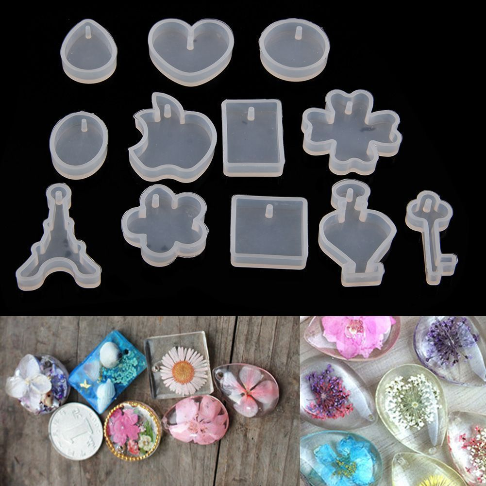 12 Silicone Mould Pendant Jewelry Mold Craft DIY Resin Round Making Necklace DIY