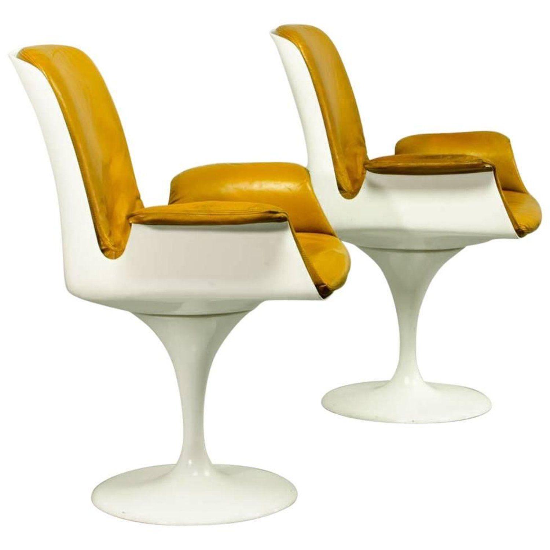 Mid-Century Tulip Swivel Chairs with Armrests in Style of Eero Saarinen /  Knoll