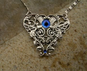 Gothic Steampunk GLOW in the DARK - Evil Eye - Dragon - Pendants - Dream Heart - Silver Blue Cerulean - OOAK - Hand Painted - one of a kind by LadyPirotessa for $29.98