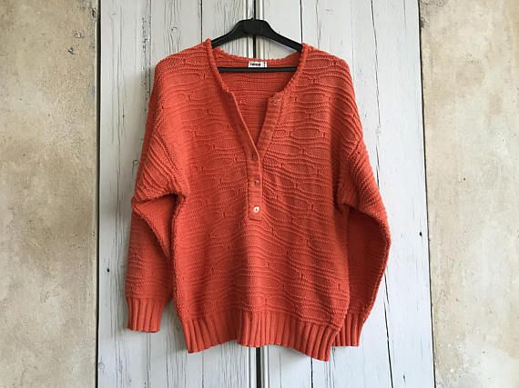 Orange Cotton Jumper. French Cotton Jumper. Vintage Cotton Sweater ...