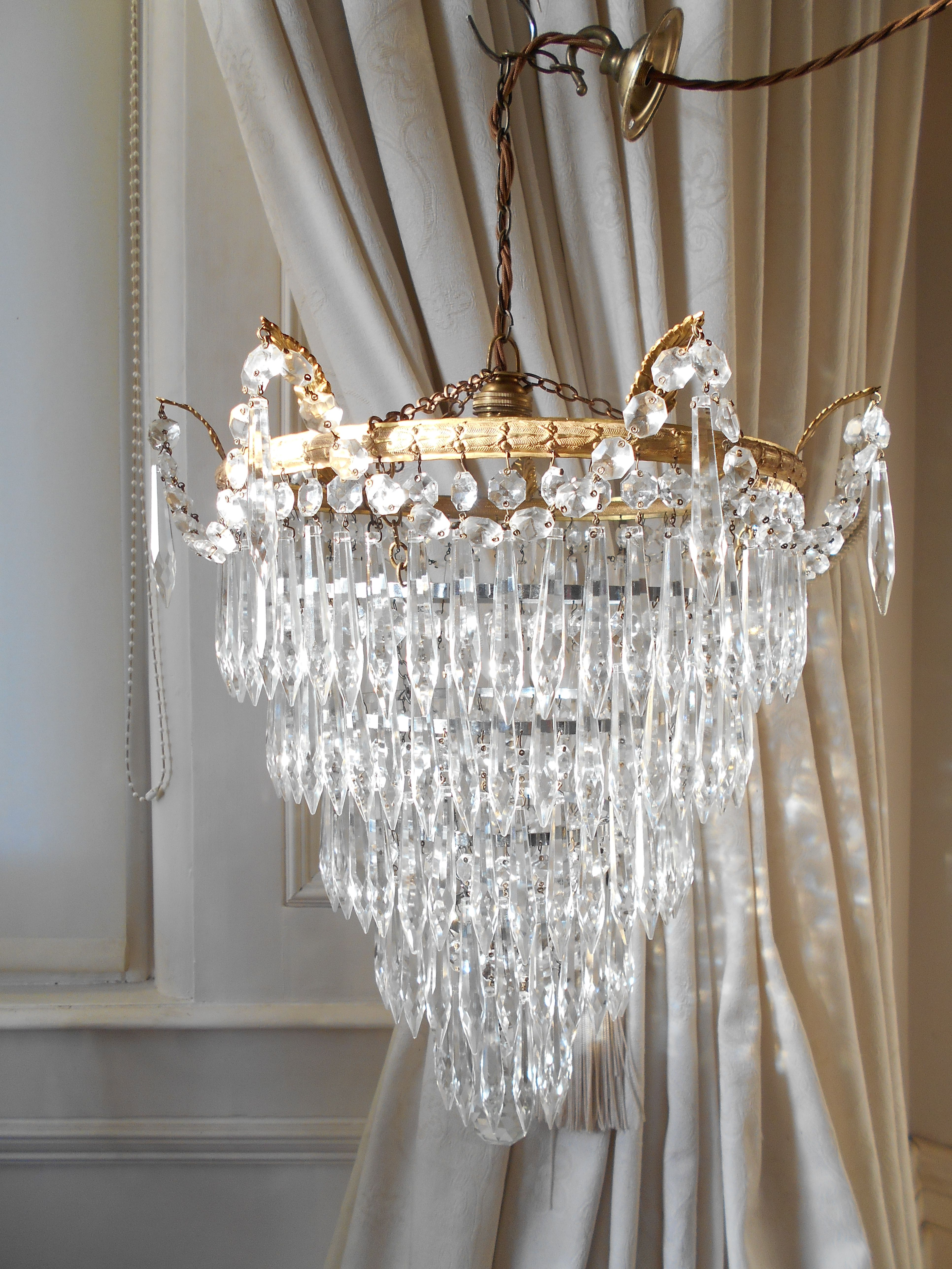 Vintage French 5 Tier Waterfall Chandelier Crystal Chandelier