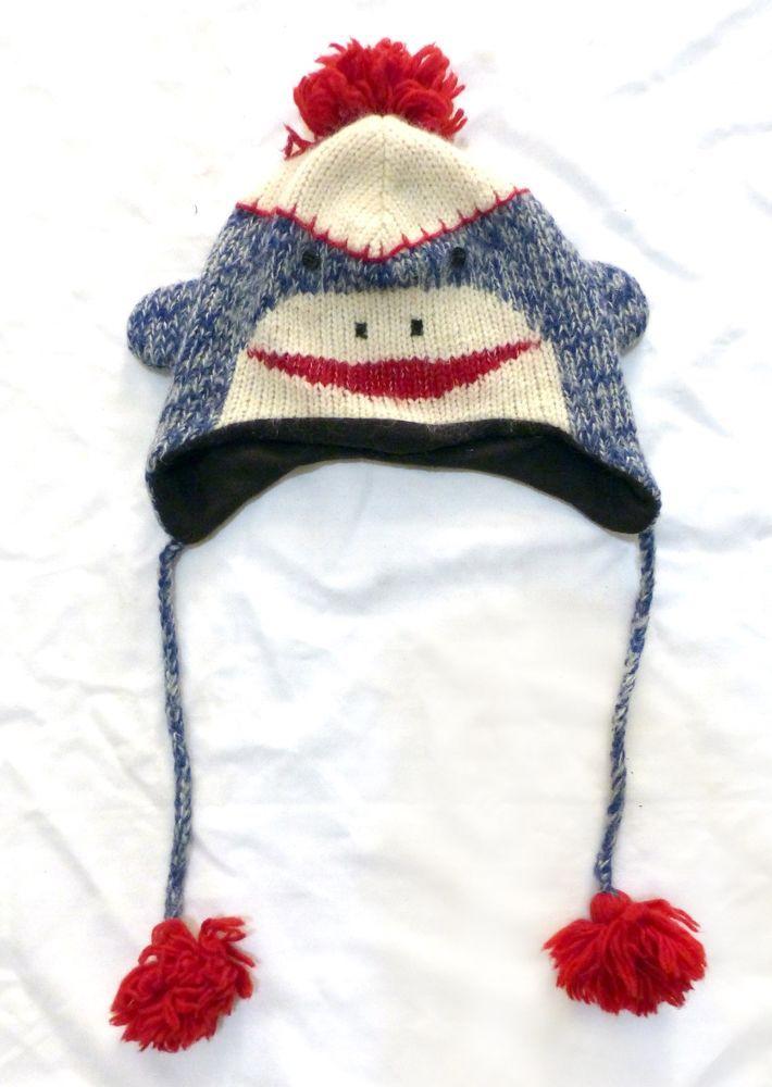 Knitwear DeLux Sock Monkey Blue Face Wool Winter Ski Beanie Lined Unisex Adult M #Delux #Beanie