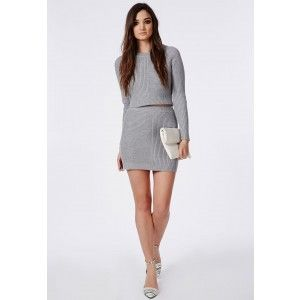 Ribbed Knitted Mini Skirt Grey - Knitwear - Missguided