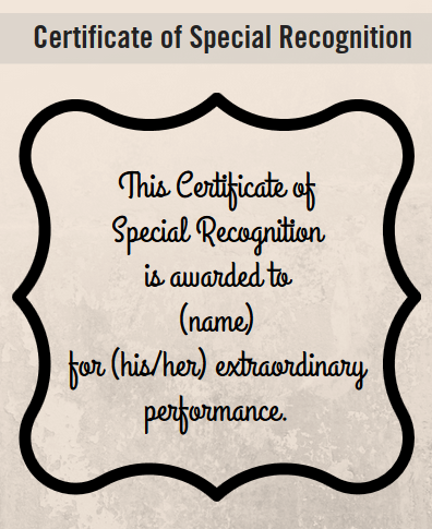 certificate recognition wording