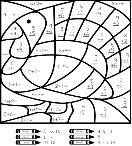 Color By Number Addition Best Coloring Pages For Kids Thanksgiving Math Worksheets Thanksgiving Math Thanksgiving School