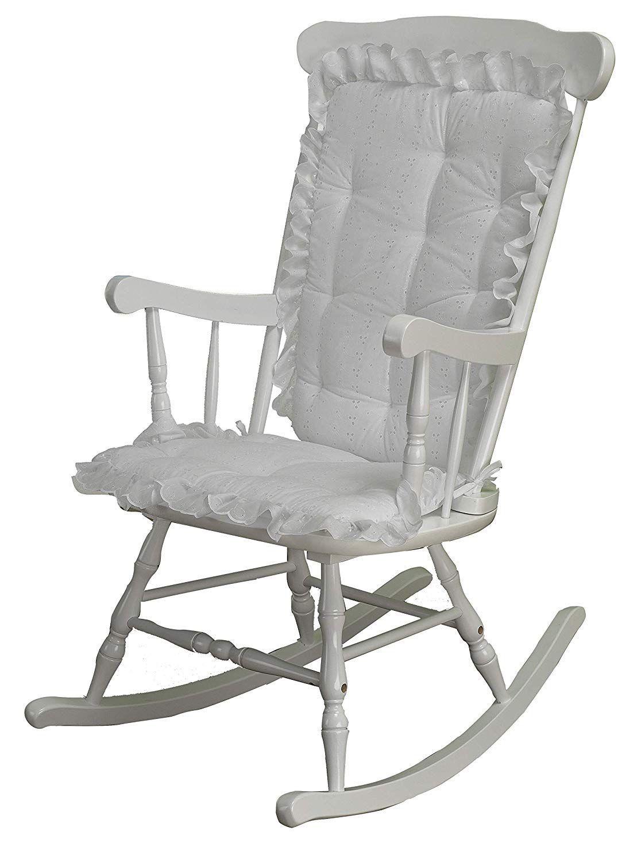 Rocking Chair Cushion Pad Set, White Eyelet, Machine